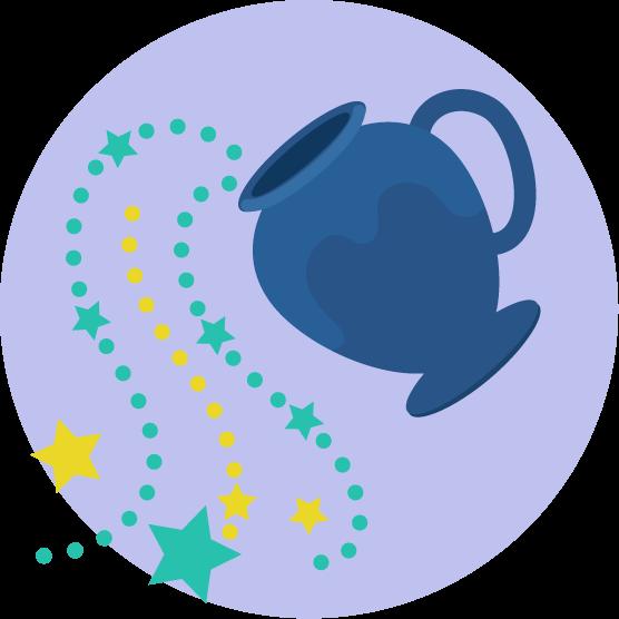 水瓶座の丸いアイコンイラスト(12星座)