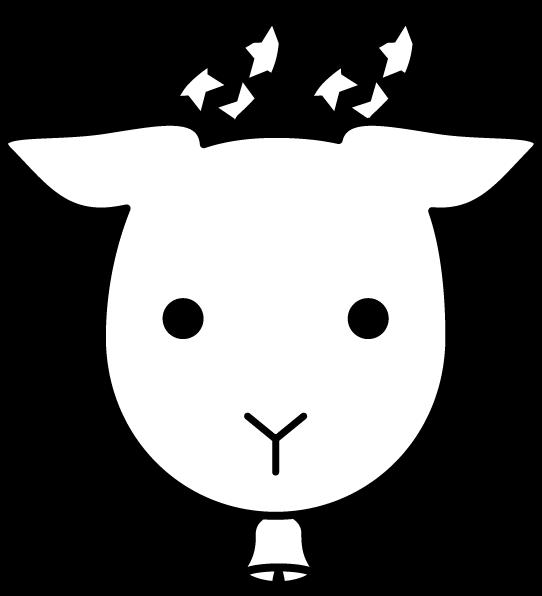 白黒の山羊座のイラスト(12星座)