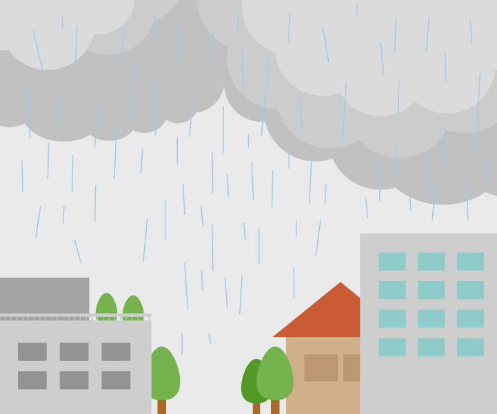 雨が降る街のイラスト
