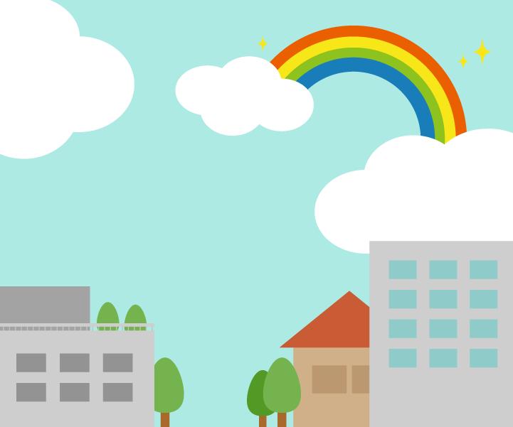 雨上がりの虹がかかる街のイラスト