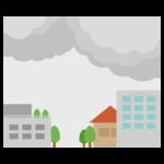 雨が降りそうな空模様の街のイラスト