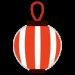祭りの提灯のイラスト(赤縞)