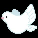 白い鳩のイラスト(飛ぶ)