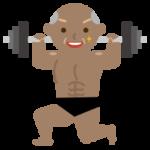 マッチョの高齢者の男性のイラスト(ダンベル)