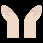 手を上に掲げているポーズのイラスト