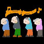 体操をする高齢者の女性と男性のイラスト2