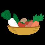 野菜がたくさん入ったカゴのイラスト