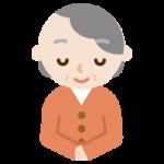 お辞儀をする高齢者女性のバストアップのイラスト
