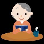 読書する高齢者の女性のイラスト