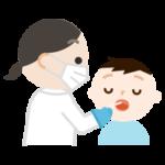 感染症検査をする男の子のイラスト(口)