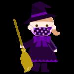 水玉のマスクをした魔女のコスプレの女の子のイラスト
