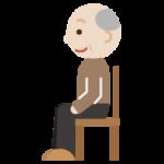 椅子に座るおじいちゃんのイラスト(横向き)