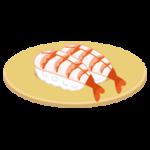 エビのお寿司のイラスト(回転寿司)