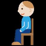 椅子に座る若い男性のイラスト(横向き)