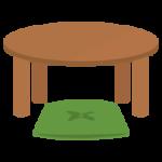 ちゃぶ台と座布団のイラスト