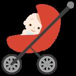 ベビーカーに乗った赤ちゃんがこちらを向いているイラスト