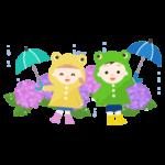 紫陽花と子供のイラスト