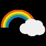 雲にかかった虹のイラスト