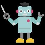 博士帽を被り説明するロボットのイラスト2