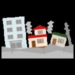 地震で建物が揺れるイラスト