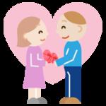 笑顔でバレンタインの贈り物をする恋人達のイラスト3