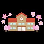 桜の季節の小学校のイラスト