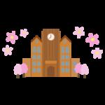 桜の季節の大学のイラスト