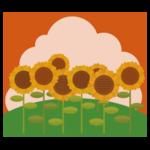 ひまわり畑のイラスト(夕方)