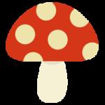 水玉模様のキノコのイラスト(赤色)