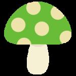 水玉模様のキノコのイラスト(緑色)