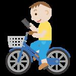 自転車でスマホのながら運転をする男性のイラスト