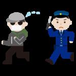 泥棒が男性警察官に追いかけられるイラスト