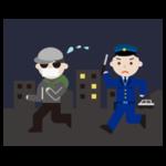 泥棒が男性警察官に追いかけられるイラスト2